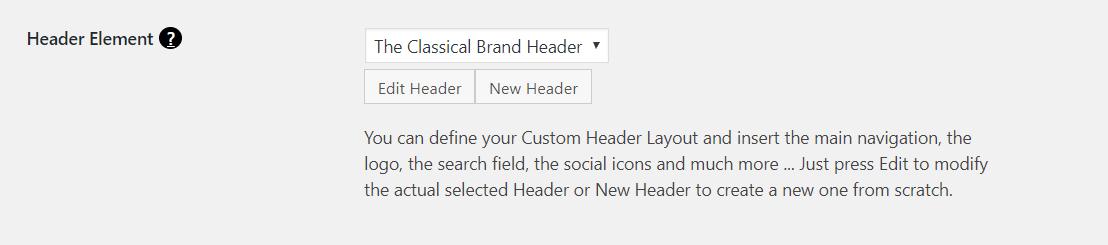 Freesoul WordPress Theme, custom header selection from theme options