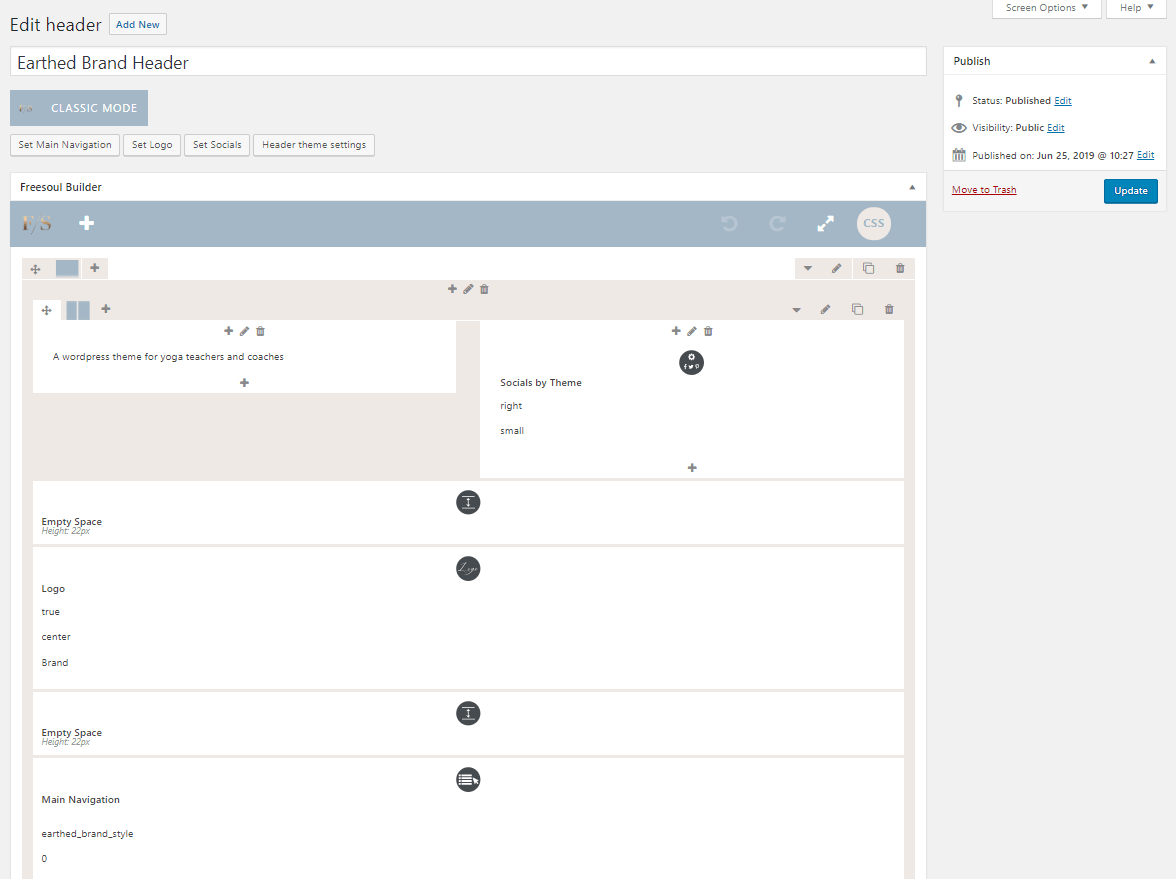 Freesoul WordPress Themem Header editing